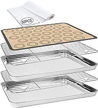 Baking Sheet 55 PCS Baking Sheet Set with 2 PCS Stainless Steel Baking Pans & Cooling Rack,Silicone Baking Mat & 50 Parchm...