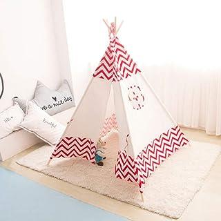 Vobajf Lektält barn tipi-tält indisk duk tält för barn småbarn inomhus lektält (färg: Röd, storlek: 120 x 120 x 145 cm)