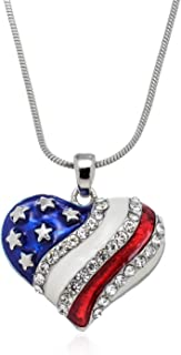 Red White Blue American Flag Heart Necklace, 17.5 inches