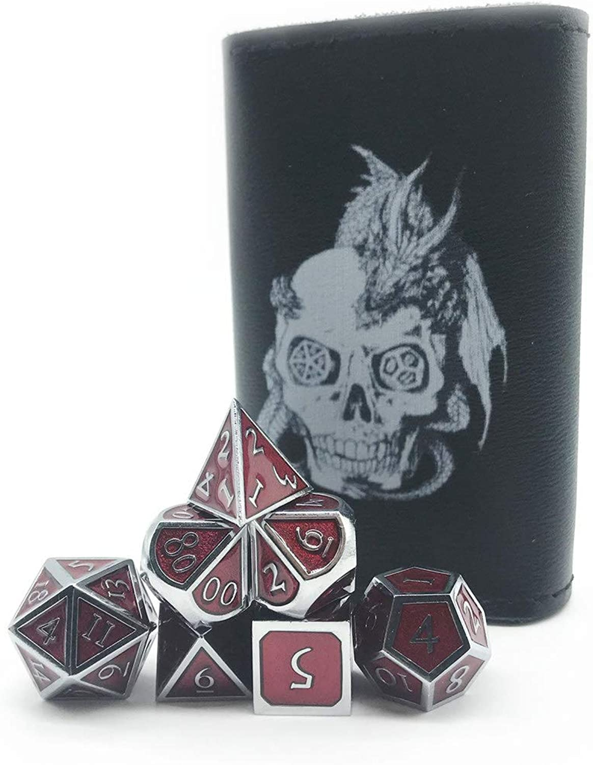 Truewon Solid Metallic Polyhedron Dice for DND RPG,Chrome color & Blood-red Background. (Set of 7 + Black PU Bag)