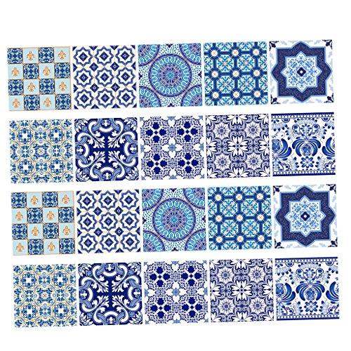 Gazechimp Paquete de 20 Pegatinas de Pared - Adhesivo de Pared con Impresión de Bohemia - Fácil de Limpiar para Baño, Cocina - # 4 15x15cm, Individual