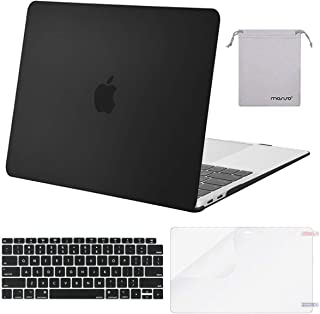 MOSISO MacBook Air 13 inch Case 2019 2018 Release A1932 with Retina Display, Plastic Hard Shell & Keyboard Cover & Screen Protector & Storage Bag Compatible with MacBook Air 13, Black