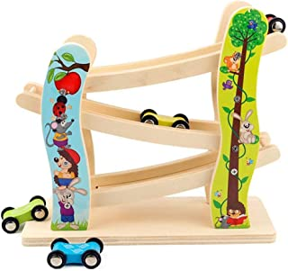 Toddler Toys Race Track, Wooden Race Track Car Ramp Racer With 4 Mini Cars, Educational Creative Toddler Toys For 1-2 Year...