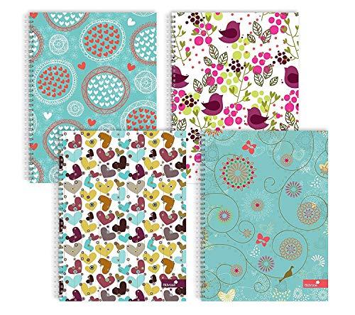 Silvine - Cuadernos de Espiral, tamaño A5, Varios Modelos, diseño de Corazones y Flores, 4 Unidades
