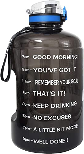 QuiFit Motivational Gallon Water Bottle - with Time Marker & Strainer & Handle 128/73/43 oz Leak-Proof Infuser Water ...