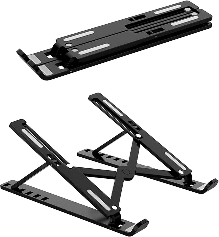 Elevador Plegable de ventilado Pl/ástico ABS Black MORANGO Soporte Port/átil 6 /Ángulos Ajustables Soporte Plegable de Mesa para port/átil