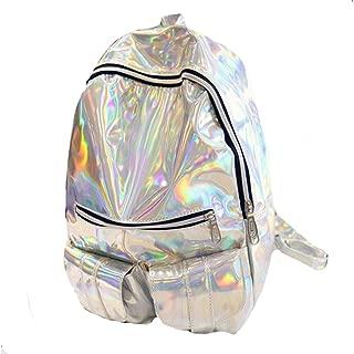 Holographic Leather Backpack Schoolbag Laser Daypack for Women Girls (Sliver)
