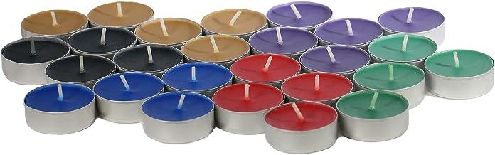 CandleNScent Unscented Tea Lights Candles   Variety Pack   Purple - Red - Dark Blue - Cider - Black - Dark Green - Made in...