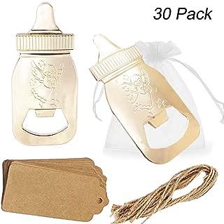 Amajoy 30 unidades de abrebotellas con forma de amapola para regalos de fiesta de bienvenida de bebé, con bolsa transparente