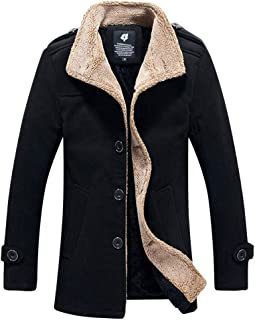 Kemilove Men's Winter Fleece Leather Jacket Coat Lamb Wool Jacket
