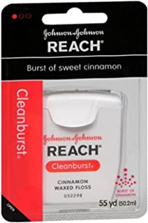 Reach Cleanburst Waxed Dental Floss, Oral Care, Cinnamon Flavored, 55 Yards (Pack of 6)