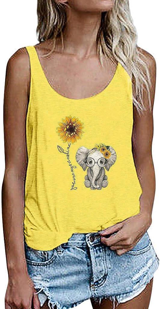 AODONG Women Tank Tops,Womens Crop Top Fashion Graphic Printed Shirts Sleeveless Blouse Tee Shirts