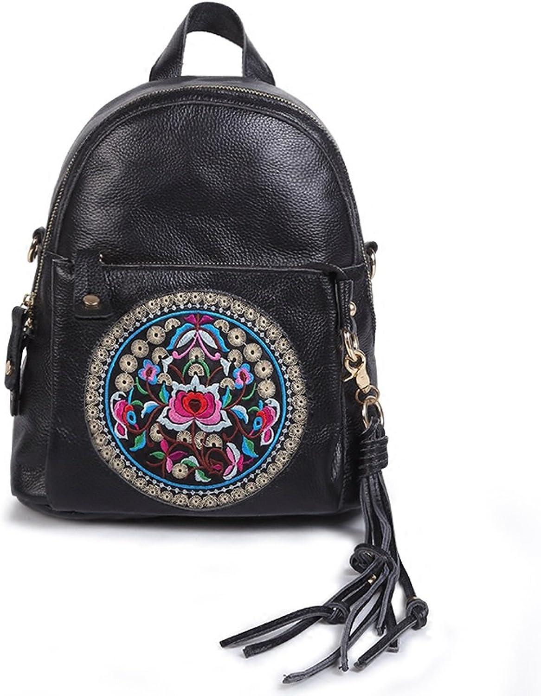 CJH Rindsleder Bestickt Blaume ethnischen Stil Rucksack Frauen Reiserucksack aus reinem Leder große Kapazität Wild Bag B07FJWBJVT