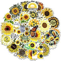 Sunflower Stickers 50 Pcs, Vinyl Waterproof Decals for Hydro flasks , Cute Sunshine VSCO Stickers for Laptop Computers Walls Phone Case, Yellow Floral Decals for Women Men Boys Girls