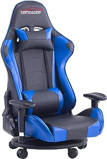 TOPRACING ゲーミング座椅子 360度回転 ゲーミングチェア155度リクライニング ハイバック 可動肘 ヘッドレスト クッション付き キャスター付き (ブルー)