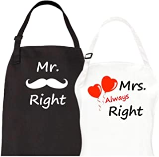 Let the Fun Begin Mr Right & Mrs Always Right Aprons 2 Piece Matching Apron Set His Hers Couples Engagement Wedding Anniversary Bridal Shower Gift for Bride