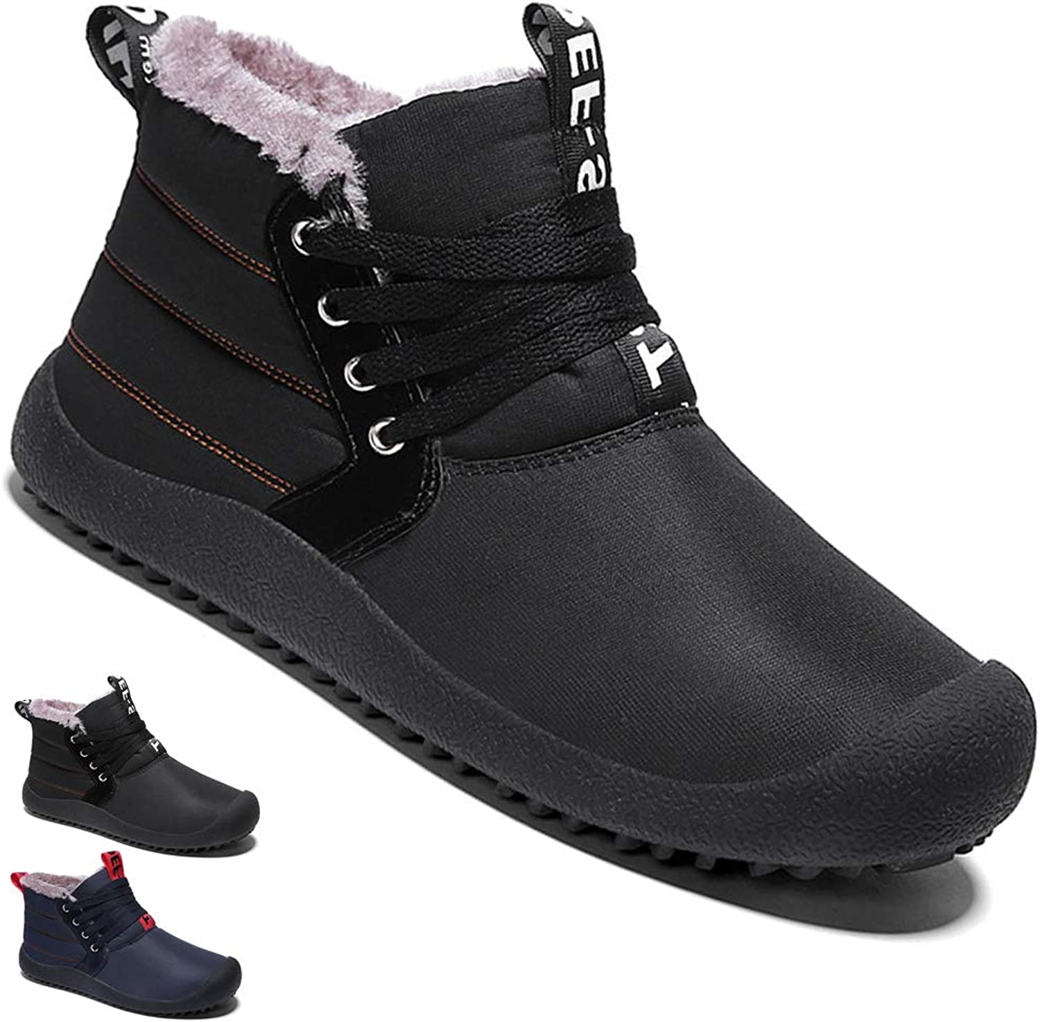 Yooabc Men's Warm Snow Boots Waterproof Slip On Booties Fully Fur Lined shoes