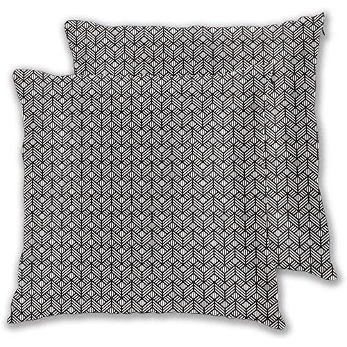 Butlerame Kissenbezug 2er-Set, wiederholte Moderne geometrische Gitter verzierte Grafikgitter-Netzfliesen Mosaik-Druck, quadratischer Akzent Kissenbezug 18x18 Zoll