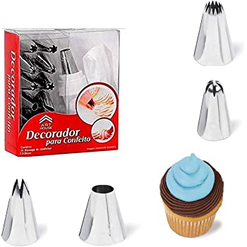 Decorcrafts® 13 Piece Set Cake Decorating Set Frosting Icing Piping Bag Tips with Steel Nozzles. Reusable & Washable