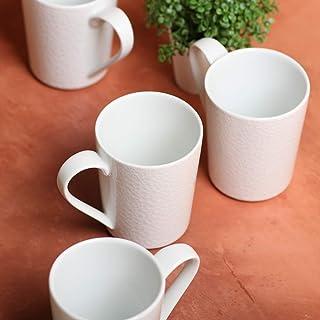 White Reactive Mug Set - 4 Pcs