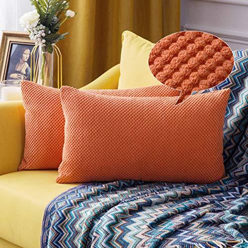 MIULEE Fundas Cojines para Cama Funda de Almohada de Pana Cojin Rectangular de Sofa Color Solido Poliéster Decoracion para Habitacion Dormitorio Oficina Silla Salon Comedor 2 Pieza 30x50cm Naranja