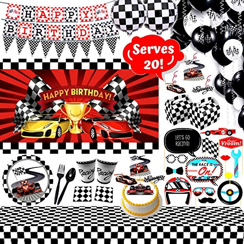 Race Car Party Supplies Set - 147 Piece Race Theme Birthday Party Decorations | Includes Disposable/Reusable Tableware Kit, Photo Booth Props, 3' x 5' Backdrop, Goody Boxes, Cake Toppers and Balloons | Party Favors Serve 20 Guests