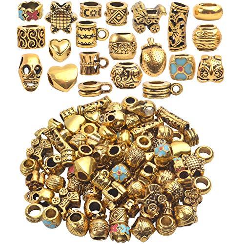 Aylifu Metallperlen Spacer Perlen, 69 Stück Antik golden Bastelperlen Zwischenperlen Tibetische Spacer Charms mit Loch Schmuckzubehör zum Auffädeln Basteln