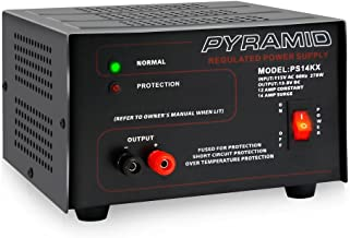Universal Compact Bench Power Supply - 12 Amp Linear Regulated Home Lab Benchtop AC-to-DC 12V Converter w/ 13.8 Volt DC 115V AC 270 Watt Power Input, Screw Type Terminals, Cooling Fan - Pyramid PS14KX