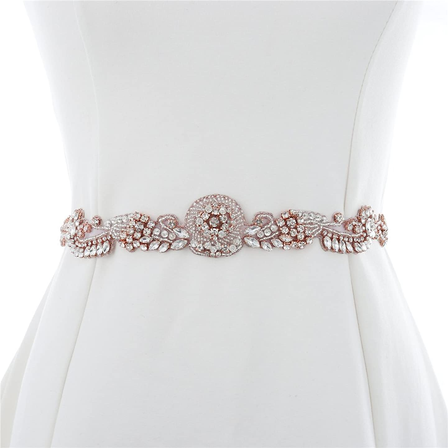 XINFANGXIU Rose Gold Bridal Wedding Dress Applique Beaded Rhinestone Belt Crystal Sash Applique Bridemaid Gown Women Prom Formal Dress Belt Applique Jeweled Embellishment Clothes Accessories