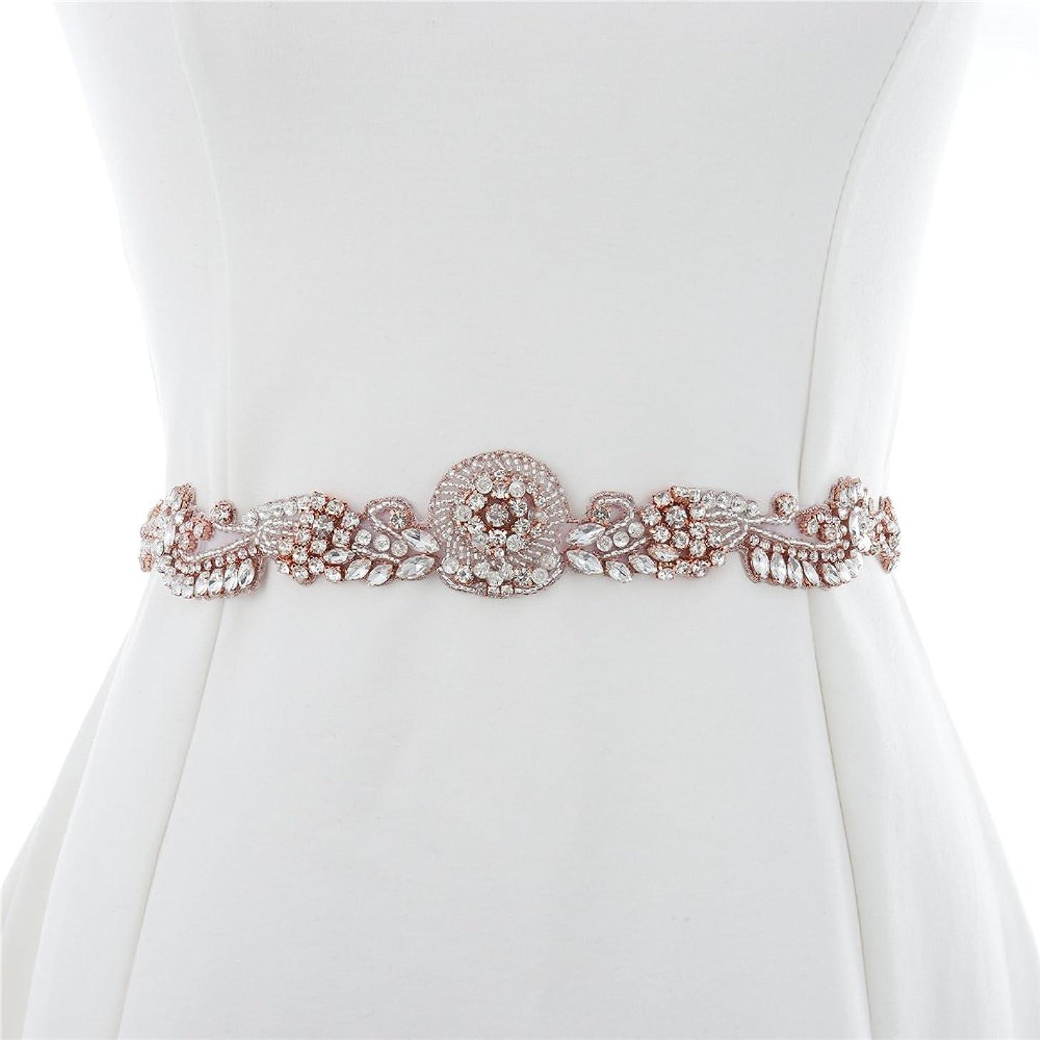 XINFANGXIU Rose Gold Bridal Wedding Dress Applique Beaded Rhinestone Belt Crystal Sash Applique Bridemaid Gown Women Prom Formal Dress Belt Applique Jeweled Embellishment Clothes Accessories