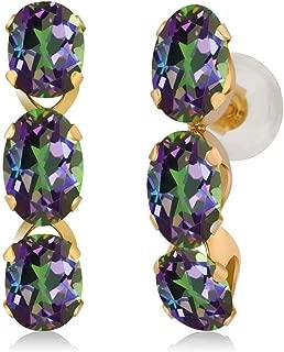 Gem Stone King 3.00 Ct Oval Green Mystic Topaz 14K Yellow Gold Earrings