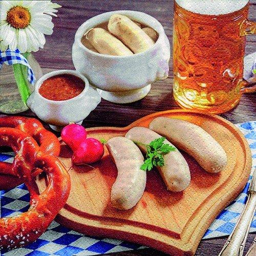 20 servetten Beierse maaltijd/worste/Bier/Brezel/Oktoberfest/Beieren 33x33cm