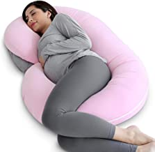 PharMeDoc Pregnancy Pillow with Jersey Cover, C Shaped Full Body Pillow (Light Pink)