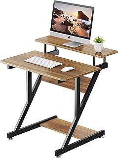 Dripex Bureau d'ordinateur Stable en Forme de Z, Bureau Informatique avec Étagères pour Petits Espaces, Table d'ordinateur...