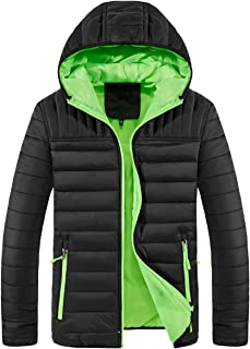 Mens Winter Puffer Down Jacket Guides Insulated Quilted Fleece Lined Jacket with Hood