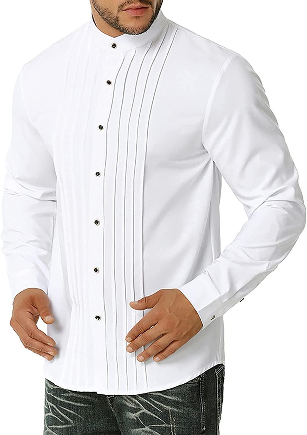 JOAU Men's Business Dress Shirt Solid sold out Pleated Max 65% OFF Color Long-Sleeved