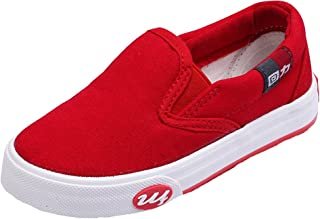 HW-GOODS Unisex Kid's Canvas Sneakers Casual Slip-on Shoes Red (Toddler/Little Kid/Big Kid)