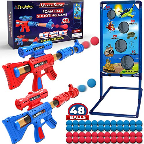 Shooting Game Toys for 5 6 7 8 9 10+ Year Old Boys and Girls - 2 Foam Ball Popper Air Toy Guns with...