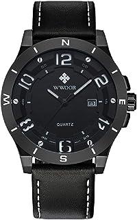 ساعة يد رجالي عصرية من WWOOR بنمط رياضي مضيء من الكوارتز تناظري، جلد طبيعي تقويم للرجال كاجوال + صندوق ساعة