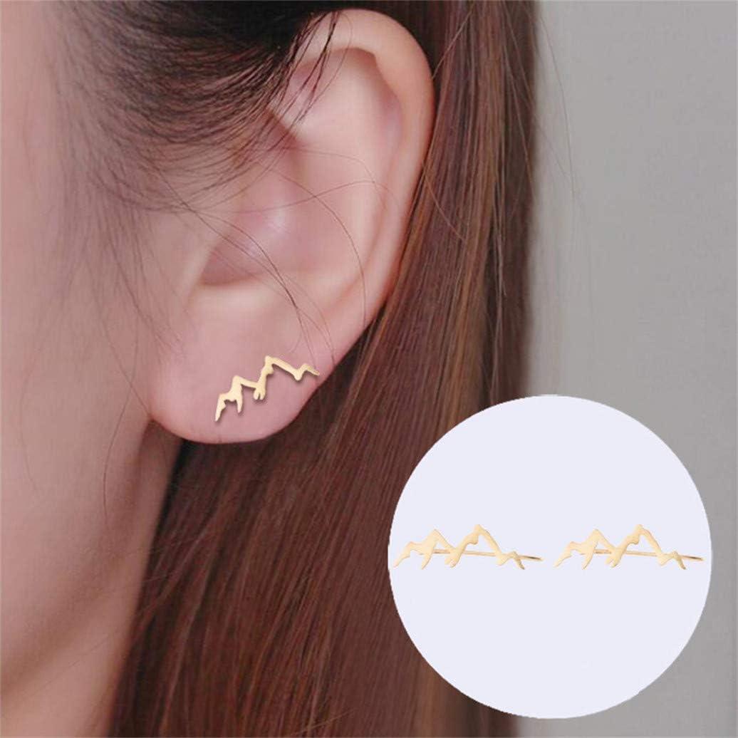 Kshcf Ear Clip Personality Mountain Peak Mountains Crawler Climbers Wrap Earring Crawler Cuff Alloy Stud Jacket Earrings Jewelry Gold