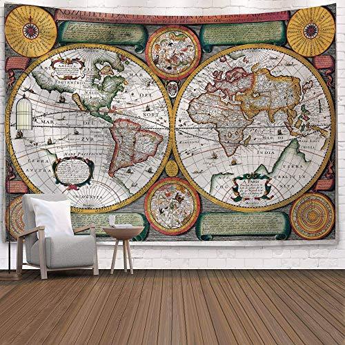 WERT Mapa del Mundo 3D geométrico Tapiz Colgante de Pared Toalla de Playa decoración del hogar Tapiz de Tela de Fondo A16 150x200cm