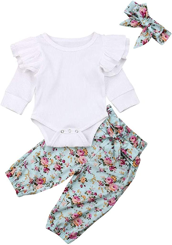 WOCACHI Baby Girls Floral Quantity limited Pants Sets sale Rib Bodysuit Infant Knit F