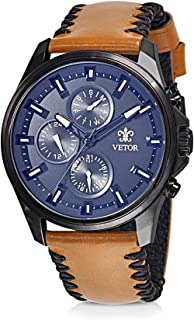 Vetor Watch for Men, Analog, Chronograph, Leather Band, Brown, VT027M024402