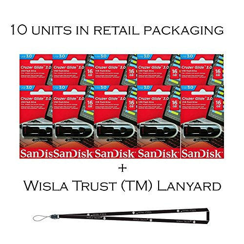 SanDisk Cruzer Glide 16GB (10 Pack) SDCZ600-016G USB 3.0 Flash Drive Jump Drive Pen Drive SDCZ600-016G - Ten Pack + Bonus Wisla Trust (TM) landyard