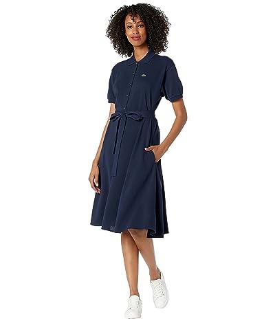 Lacoste Short Sleeve Button Through Belt Pique Dress