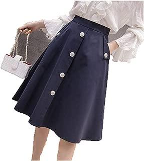 High Waist Pleated Ball Gown Long Skirt Faldas Women's Retro Knee Length Midi Skirt Buttons Skirts