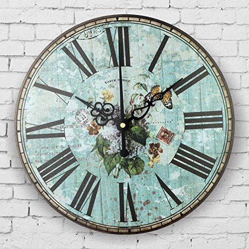 Mediterranean style bedroom decor watch wall retro silent wall clock roman number antique wall decor clocks