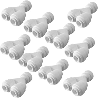 PureSec 2017 TWS1414 mini white plastic quick fitting Tube divider two way splitter Y shaped connector for tubing OD 1/4 u...