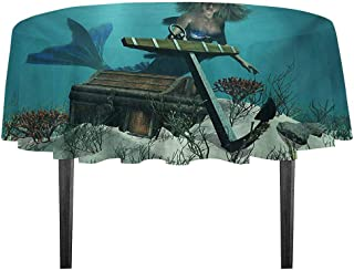 kangkaishi Mermaid Easy Care Leakproof and Durable Tablecloth Mermaid in Ocean Sea Discovering Pirates Treasure Chest Mythical Art Print Outdoor Picnic D59.05 Inch Azure Brown Cream