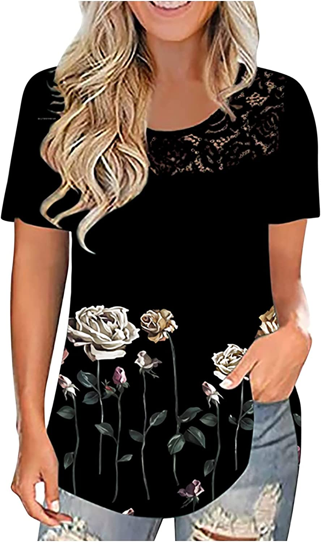 TARIENDY Summer Blouse for Women Lace Pachwork Tunic Flower Print Fashion Tops Short Sleeve Tshirt